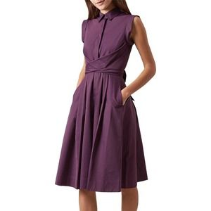 Hobbs London Gables Dress Purple Belted Sleeveless